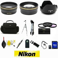 Nikon D3300 D3200 D5300 D5200 D5100 DSLR Camera Bag Tripod Accessory Kit - 52MM