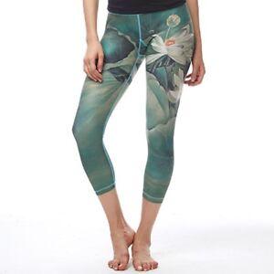 29817d396dbc2 Capri Pants Printed Lotus Flower Women Yoga Gym Jogging Running ...