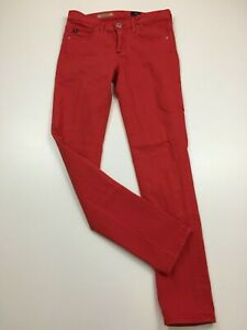 AG-ADRIANO-GOLDSCHMIED-Womens-Sz-26R-Red-Ankle-Slim-Straight-The-Stevie-Jeans