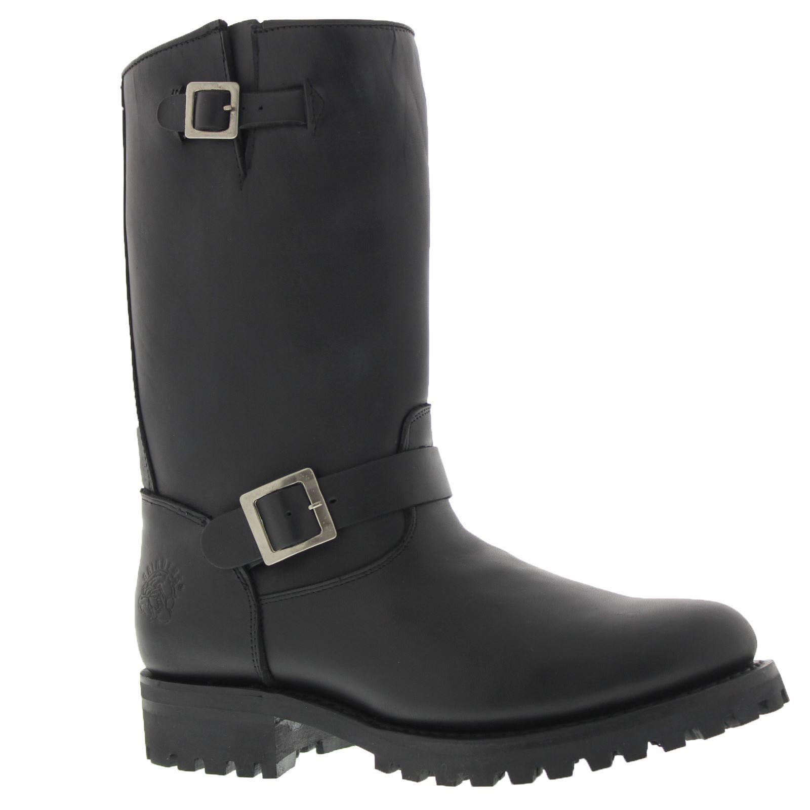 Grandes zapatos con descuento Grinders Wild One Oily Full Black Womens Premium Leather Biker Boots