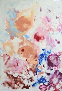 """PEINTURE À LA CIRE, tableau abstrait original de Hélène ZENATTI : """"WAX FLOWERS"""""""