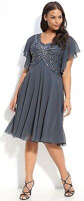 New J KARA Beaded V Neck Flutter Sleeve Chiffon Dress Steel Gray Slate Size 24 W