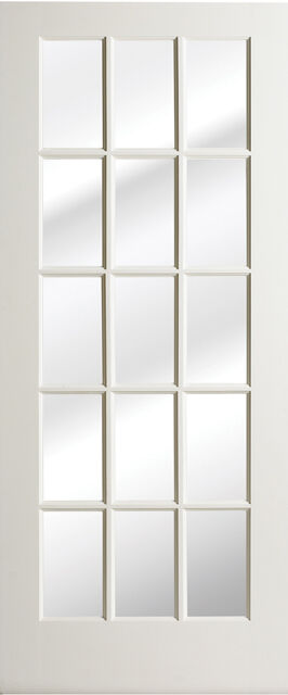 15 Lite Primed Smooth MDF Solid Wood Interior French Doors 6'8 Height - Prehung