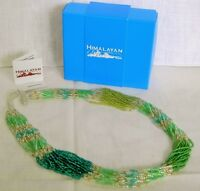 Himalayan Gems Nepal Multi-strand Potay Bead Necklace 23 Inch Green Shades
