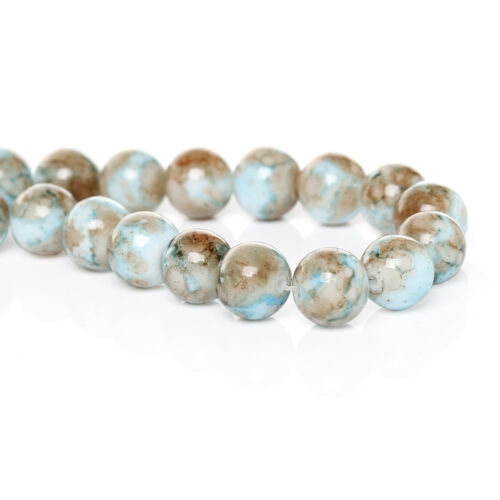 50 BEAUTIFUL HIGH QUALITY GLASS ROUND MARBLE COLOURED BEADS STUNNING 10mm