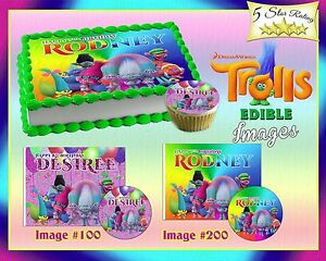 Image Is Loading Trolls Movie Birthday Cake Topper Edible Sugar Cupcakes