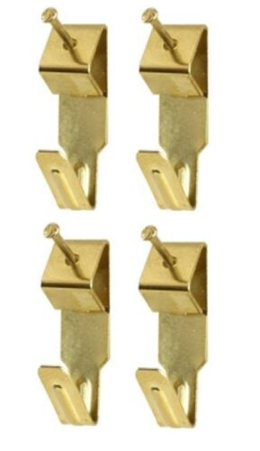 Picture Hook /& Pin Set 4 x Small Picture Hooks /& Pins Nails Electro Brassed