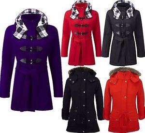 Ladies-Womens-Luxuary-Fleece-Trench-Parka-Jacket-Coat-Faux-Fur-Hooded-Plus-Size
