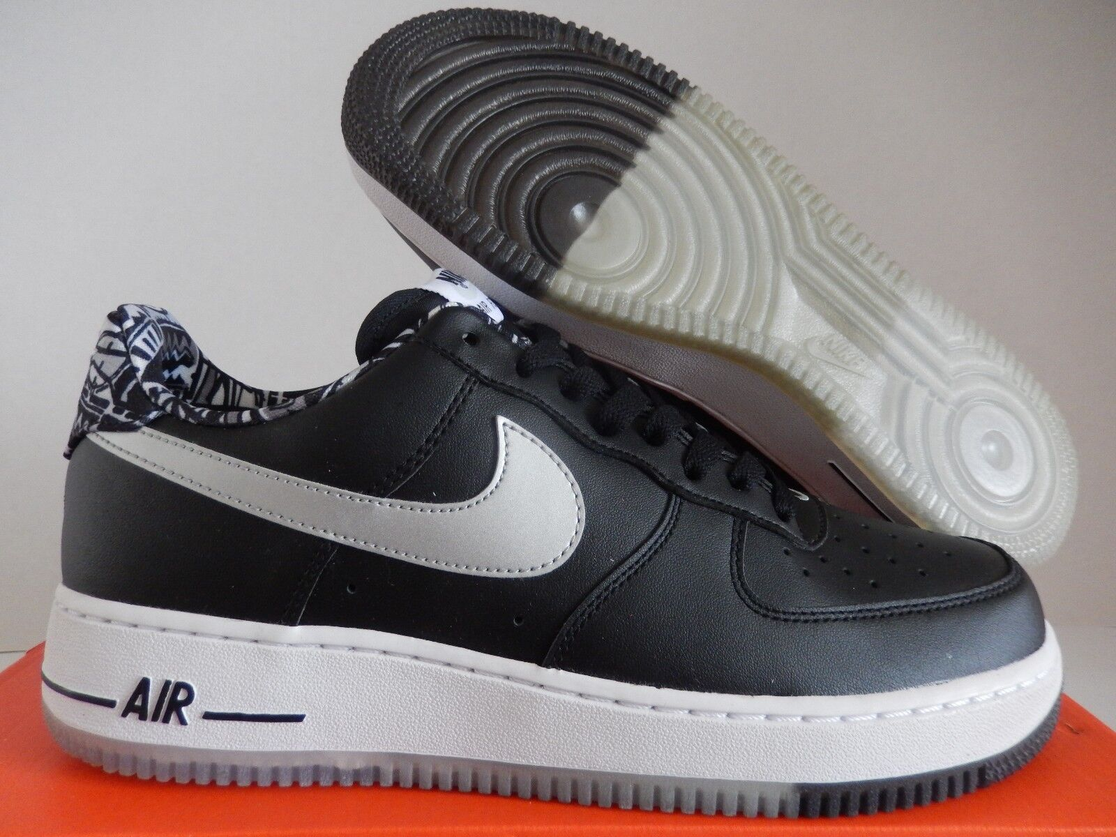 NIKE AIR FORCE 1 Negro- blanco o-plateado Tamaño [488298-089] 9