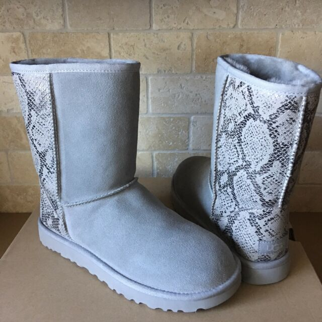 17960f98255 UGG Classic Short Metallic Snake Silver Suede Sheepskin Boots Size US 11  Womens