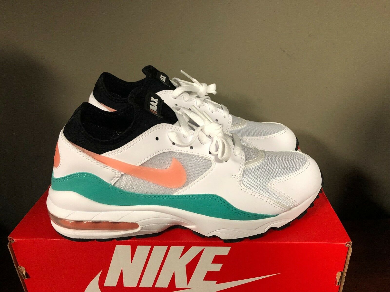 newest 51af9 289bf NIKE  93 WHITE CRIMSON BLISS-KINETIC GREEN-BLACK 306551-105 NEW 2018 MAX AIR  nthkot6526-Athletic Shoes