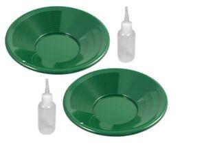 """2 Pk 8"""" Green Gold Pan Pans Dual Riffles & 2 Snuffer Bottles Mining Panning Kit"""