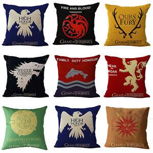 Game-Of-Thrones-Sigils-Maison-Decorative-Carre-Taie-oreiller-Jete-de-lit