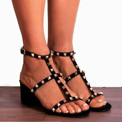 10e2efe21fe BLACK GOLD STUDS STRAPPY SANDALS LOW HEELED ANKLE PEEP TOES HIGH HEELS  SHOES   eBay