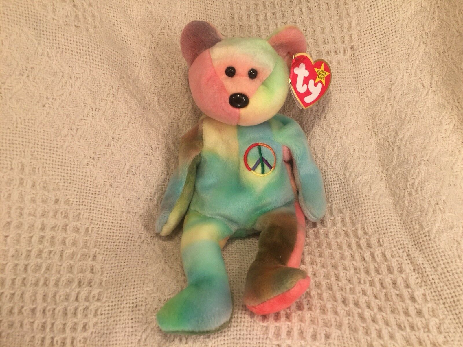 ... Rare 1996 Ty Beanie Baby Peace Bear Original Collectible with Tag Tag  with Errors 649904 ... 51a7c5ba8e44
