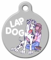 Lap Dog Great Dane - Custom Personalized Pet Id Tag For Dog And Cat Collars