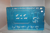 Vtg Entertainment Set Geese 6 Glasses 1 Tray 1 Beverage Server With Lid Acrylic