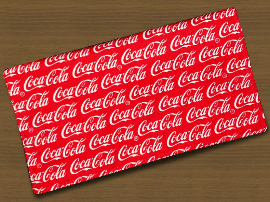 Checkbook Covers Fabric Coke Red with White Letter Coca Cola Handmade