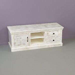 Details zu Tv Sideboard Bank Schrank Möbel Low Board Vintage Style Shabby  Echt Massiv Holz