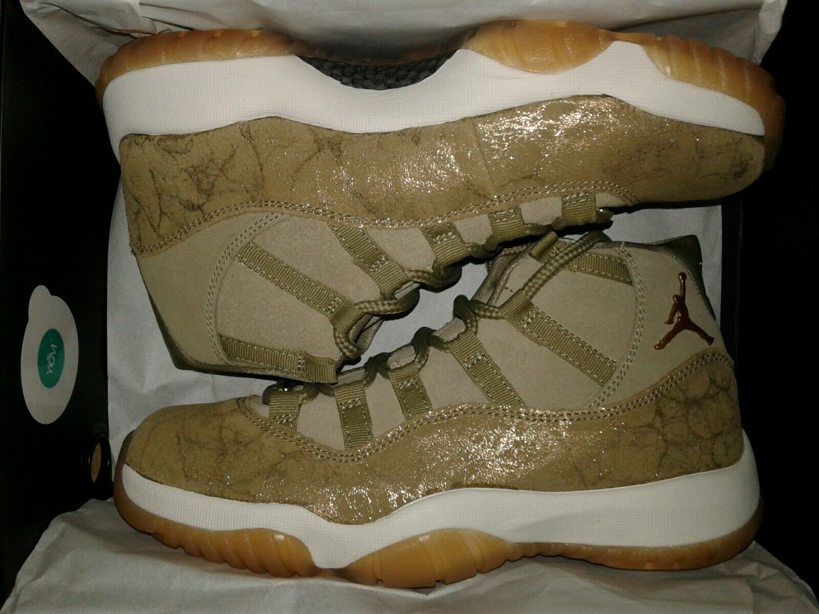 WMNS AIR JORDAN 11 RETRO NEUTRAL OLIVE MTLC STOUT-SAIL AR0715-200 SIZE 9.5