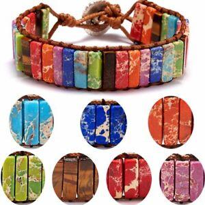 7-Chakra-Tube-Beads-Braided-Wrap-Bracelet-Handmade-Natural-Stone-Women-Jewelry