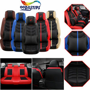 5 Seats Leather Car Seat Cover Universal Protector+Cushion Front & Rear Full Set