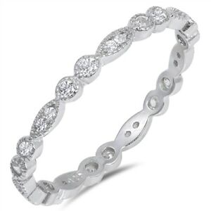 Eternity-Stackable-Clear-CZ-Wedding-Ring-925-Sterling-Silver-Band-Sizes-4-10-NEW