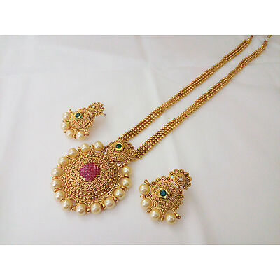 DISHI South Indian Jewellery Long haar Earing gold plated Traditional Ethnic Set