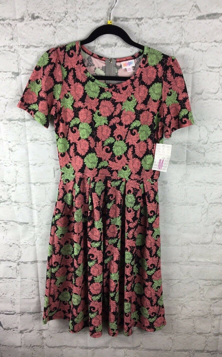 LuLaRoe, NEW With Tags; Amelia Dress, Medlium M; Pink And Mint Floral Paisley