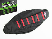HONDA CRF450 CRF450R 13-16 RIBBED GRIPPER SEAT COVER BLACK WITH RED RIBS STRIPES