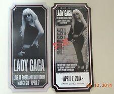 Lady GaGa Commemorative Hologram Ticket Limited Edition Roseland Ballroom