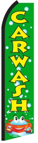 CAR WASH Green Bubbles Flutter Flag Tall Curved Top Feather Bow Swooper Banner