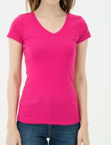 LADIES-Cotton-T-SHIRT-V-NECK-Pink-Tee-SHORT-SLEEVE-Plain-NEW