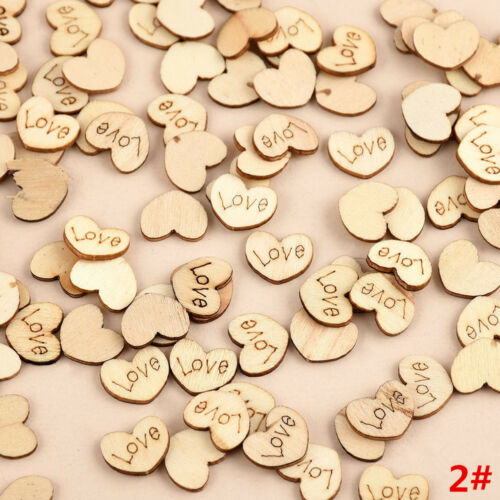 100pcs DIY Rustic Wooden Wood Love Heart Wedding Table Scatter Decoration Crafts