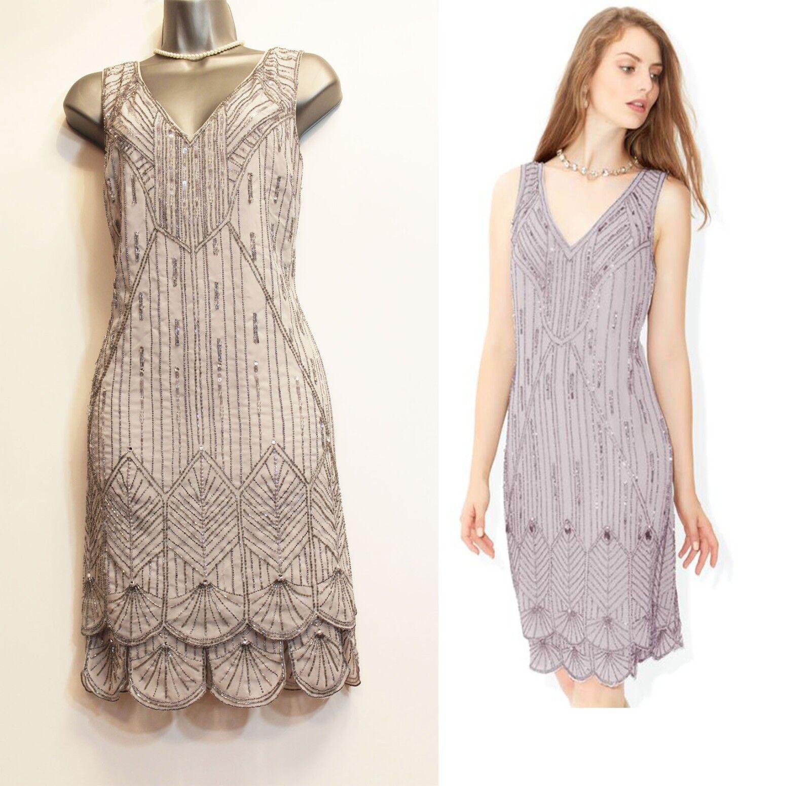 MONSOON grau Betsy Flapper Heavily Embellished Bridal Party Dress UK 12  EU 40