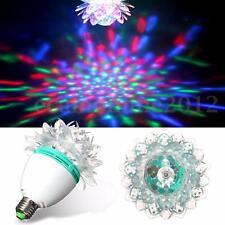 3W E27 RGB Crystal Rotating LED Stage Light Bulbs Disco Xmas Party DJ Laser Lamp