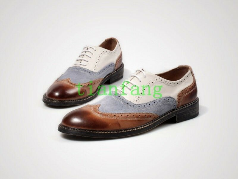 Uomo Dress Retro Formal Brogue Carved Shoes Wing tip Oxfords Lace Up British New