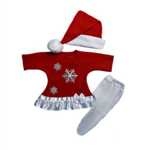 Baby Girl Snowflake Christmas Dress Tights Santa Hat 4 Preemie Newborn Sizes