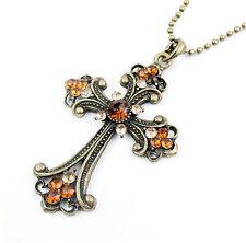Women's Charm Rhinestone Cross Pendant Retro Bronze Plated Long Chain Necklace