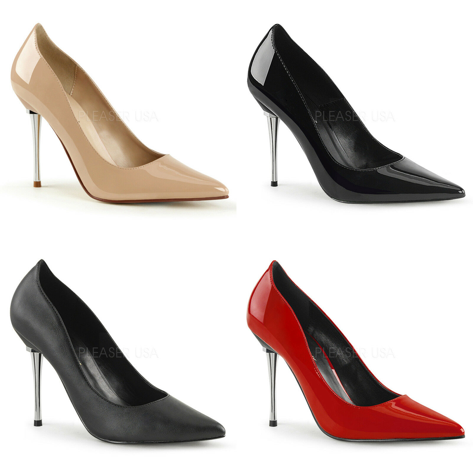 Appeal-20 sexy Lady High Heels Pumps black red haut Lack Mesizebsatz Gr 35-47