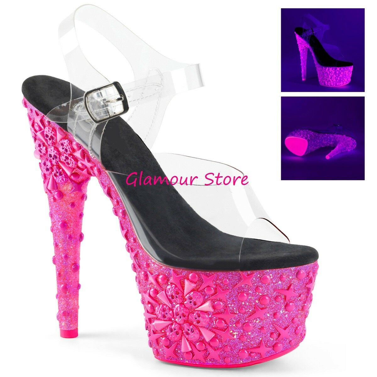 Sexy Fluorescent Sandals Heel 18 Skull Design Pink Transparent Club shoes
