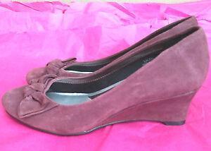 Marks-amp-Spencer-Footglove-UK3-5W-EU36W-wine-suede-effect-low-wedge-shoes-unworn