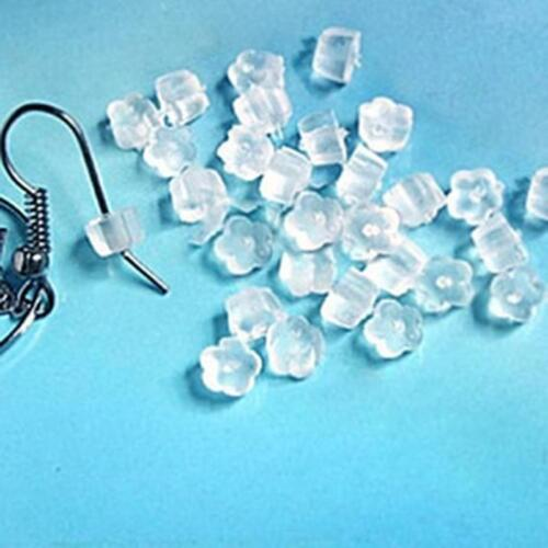 100xSoft Clear Earring Hook Flower Safety Stopper Earnut Silicone Rubber Back LY