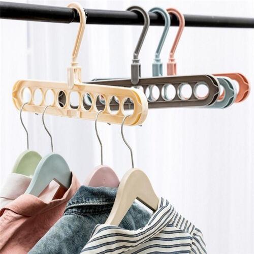 9 Hole Space Saving Drying Rack Organizer Clothes Hanger Hook Holder Rotation