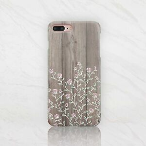 super popular 8231d 8375f Details about Wooden iPhone X Full Wrap Cover Flowers iPhone 6 6s Case  Floral iPhone 7 8 Plus