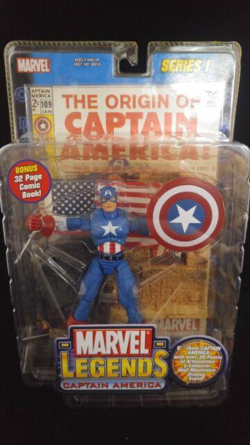 Captain America Marvel Legends Series 1 Toy Biz MIP 2002 Comic Book  Avengers