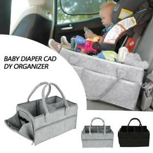 Baby Diaper Caddy Organizer Felt Changing Nappy Kids Storage Carrier Zipper Bag