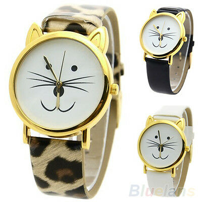 CUTE SMILE CAT FACE SHAPE GIRL WOMEN DIAL GOLD RIM BEARD FAUX LEATHER WATCH B83K