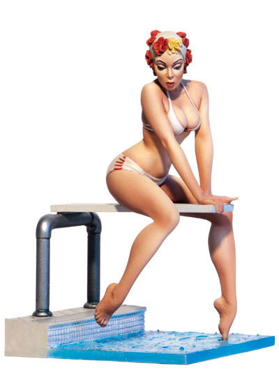 Andrea Miniatures Cool Swim Pin Up 22 80mm Unpainted Model kit