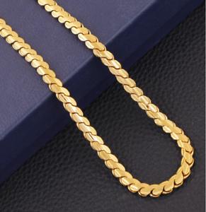 18k-Goldkette-Koenigskette-vergoldet-50cm-4MM-Damen-fuer-Herren-Maenner-Halskette